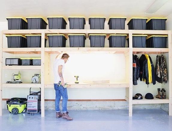 man builds DIY garage shelves to organize the garage