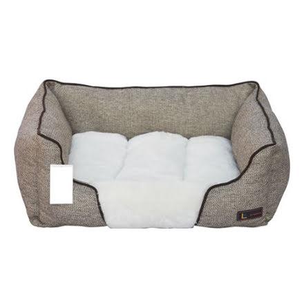 Hundbädd Fyrkant 50x43x19cm Beige/Vit