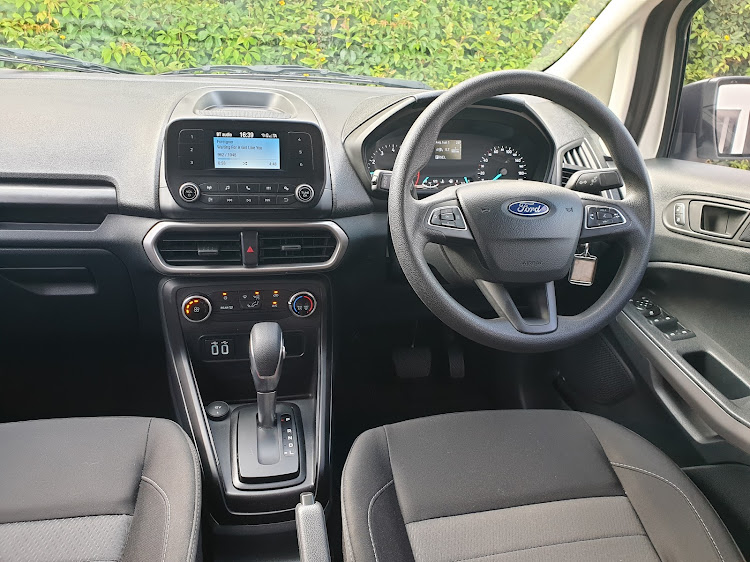 You get hard plastics and an old-school infotainment system in the baseline EcoSport Ambiente. Picture: DENIS DROPPA