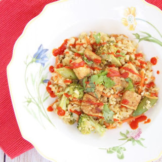 Veggie Cauliflower Fried Rice with Crispy Tofu