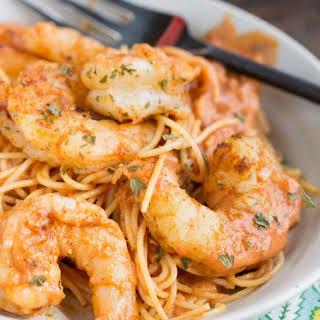Shrimp Pasta in Spicy New Orleans Tomato Cream Sauce.