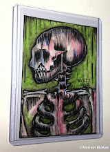 Photo: Calaveras #43. 2.5 x 3.5 inches or 6 cm x 9 cm. Watercolors and ink on 100 lb. acid-free Bristol paper. Signed on the front; title and signature on the back. Sealed with a matte finish. Comes in a clear rigid plastic top-loader. ©Marisol McKee
