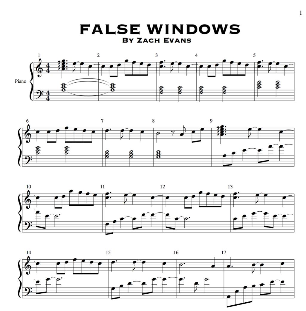 False Windows Sheet Music