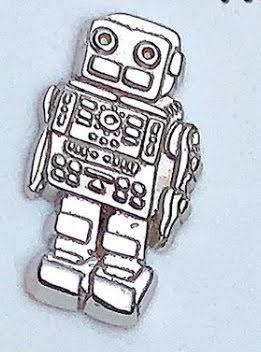 14k Robot in White gold, threadless