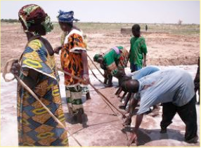 Photo: Findoukaina, Timbuktu, Mali, West Africa. October 2008. The women level their field in preparation for planting. [Photo by Erika Styger]