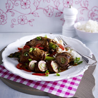 Peanut Butter Steak Roulades with Basmati Rice.
