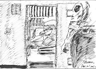 Photo: 擴大安檢2010.12.21鋼筆 年關將屆,監所都㑹在這段期間來個好幾次的大規模安全檢查,為的就是要察緝及杜絕違禁品,所以當管犯人的獄卒也得要學會翻箱倒櫃的本領,只見檢查後的現場一片狼籍,淸出來的違禁品少,垃圾倒是一大堆… 在上完令人疲憊的24小時班之後,還得再加班一個上午,搞得一身髒,吸進不少棉絮及灰塵,冒著手指被刺傷的危險,想想這工作還真不是人幹的