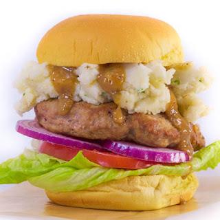 Turkey Burgers 'n Gravy on Potato Rolls.