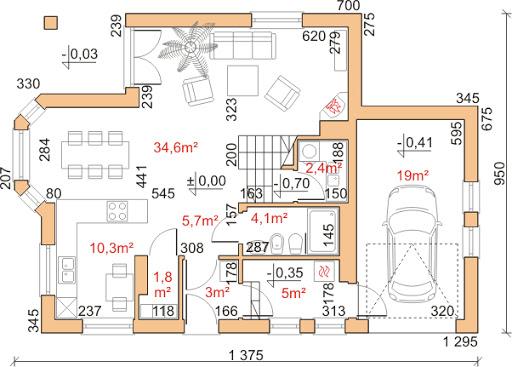 Dom przy Cyprysowej 25 - Rzut parteru
