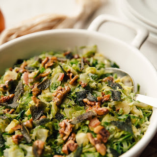 Stovetop Brussels Sprouts Hash with Crispy Sage and Walnuts