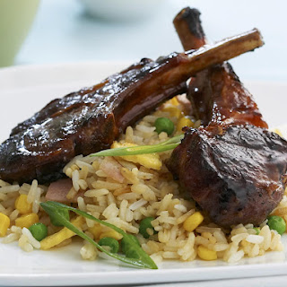 Chinese Barbecued Lamb Chops with Fried Rice.