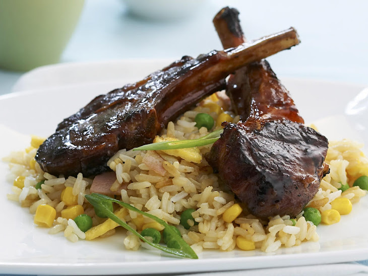 Chinese Barbecued Lamb Chops with Fried Rice Recipe