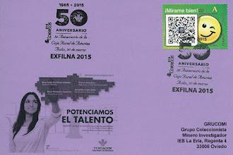 Photo: Tarjeta con el matasellos de la EXFILNA 2015 de Avilés, dedicado a los 50 años de la Caja Rural de Asturias