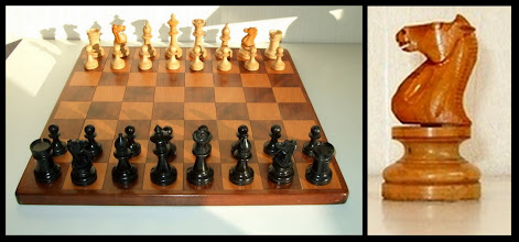 Photo: A set of chessmen of almost-certain American design/manufacture. The image is taken from Mick Deasey's excellent album on early North American Sets - https://picasaweb.google.com/109071933456760886718/NorthAmericanChessSets# (well worth looking at in its entirety).   As set out in the album, Mick believes that this particular set was one of those used at the Cambridge Springs 1904 tournament - note that the knight on this set is different in character to those found in other American sets in Mick's album, the theory being that imported ISP-type knights heads were substituted for the more individual native-American heads so as to make the sets more 'natural' for visiting foreign players. If so, the use of ISP-type knights (and, possibly, the whole sets) in the US can be dated back to at least 1904.