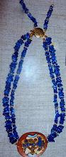 Photo: Copper enamel pendant, lpis lazuli, gold vermeil  SOLD/ПРОДАНИЙ