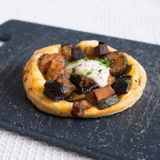 Baked Courgette Aubergine Tart With Smoked Tofu.
