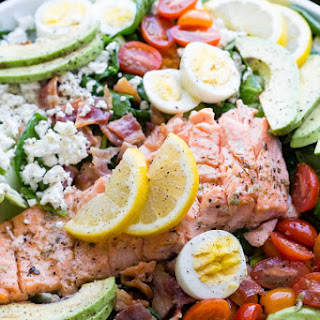 Salmon Cobb Salad with Spinach and Feta.