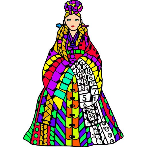 Korean Color by Number - Adult Coloring Book Pages Icon
