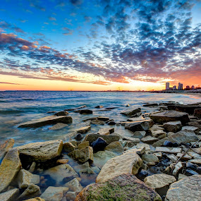 Northpoint Sunset by Anna-Lee Nemchek Cappaert - Landscapes Sunsets & Sunrises ( milwaukee, water, limestone, wisconsin, lake michigan, sunset, rocks )