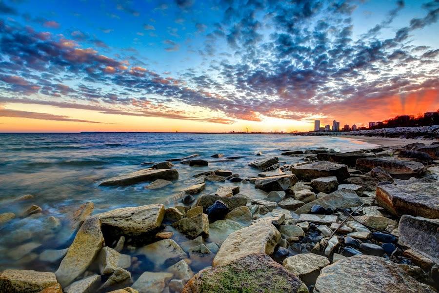 Northpoint Sunset by Anna-Lee Nemchek Cappaert - Landscapes Sunsets & Sunrises ( milwaukee, water, limestone, wisconsin, lake michigan, sunset, rocks )