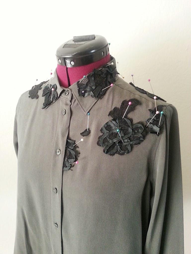 In-Progress: DIY Lace Appliqués on Blouse - DIY Fashion Garments | fafafoom.com