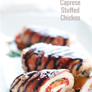 Low Carb Caprese Stuffed Chicken with Balsamic Glaze.
