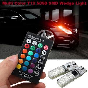 Set 2 becuri RGB auto cu telecomanda