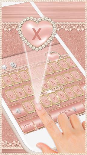 Rose Gold Keyboard Diamond Heart Theme 10001003 screenshots 2