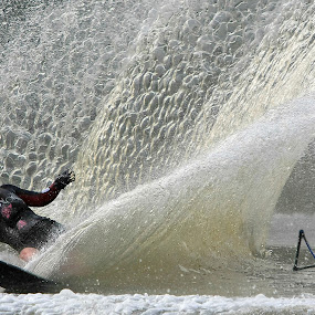 Not in the Plan! by Ron Russell - Sports & Fitness Watersports ( water, skiing, splash, speed, waves, reflections, wet, surprise, waterskiing, competition,  )
