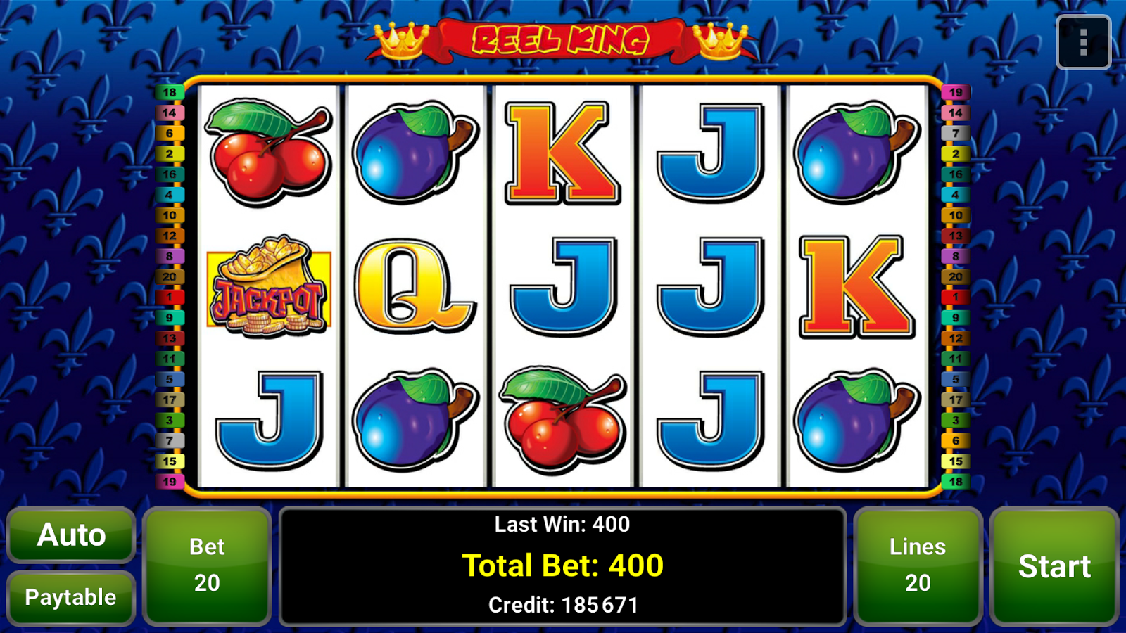 reel king slot winning combination