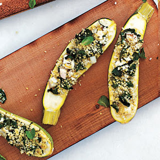Plank-Grilled Zucchini with Couscous, Spinach, and Feta Stuffing
