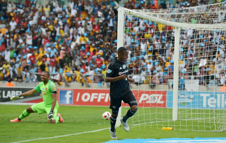Thembinkosi Lorch of Orlando Pirates celebrates goal and Itumeleng Khune of Kaizer Chiefs watching during the 2018 Telkom Knockout semifinal match between Kaizer Chiefs and Orlando Pirates at Moses Mabhida Stadium, Durban on 24 November 2018.