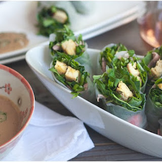 Herby Kale Salad Rolls with Peanut Sauce.