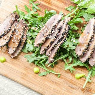 Sesame Crusted Seared Ahi Tuna with Asian Sauce {Gluten-Free, Dairy-Free}.