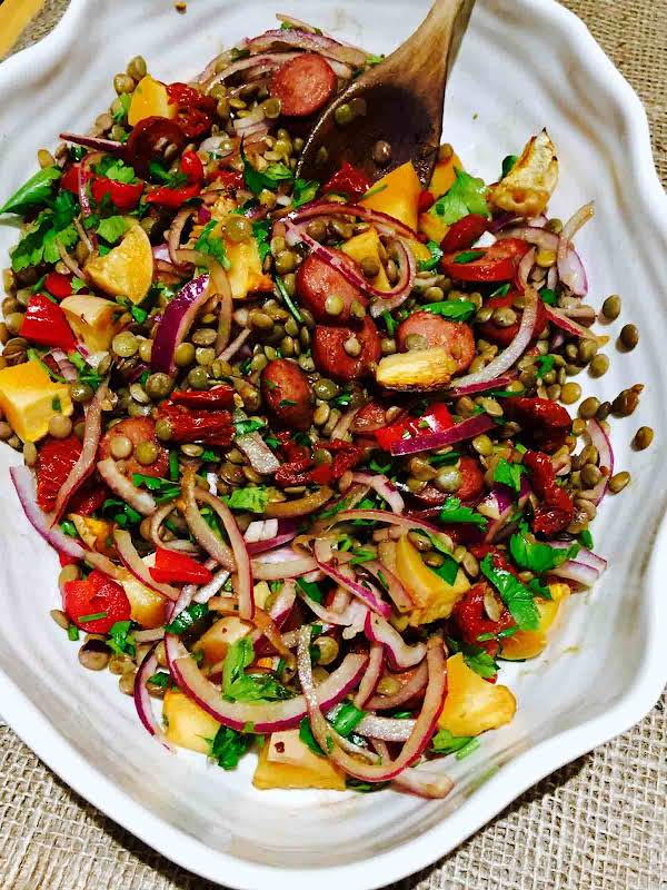 Prepare An Easy Lunch, Choose This Lentils, Chorizo And Sun-dried Tomatoes Recipe… Delicious, Healthy, All You Need In A Meal.