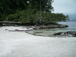 Photo: Shell beach campsite on Fitz Hugh Sound.