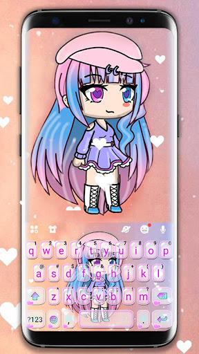 Cute Cartoon Girl Keyboard Theme screenshot 1