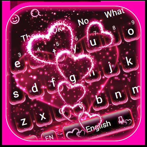 Sparkling Neon Heart Keyboard