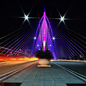 Putrajaya by Mohd Norsabree Sailan - Buildings & Architecture Bridges & Suspended Structures ( lightrail, bridge, construction, slow shutter, nightscape, night, lights )