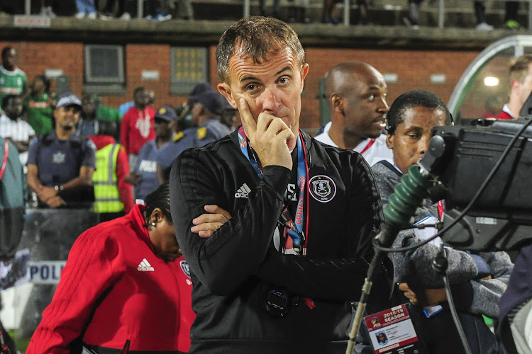Orlando Pirates coach Mlutin Sredojevic cuts a frustrated figure after his held to a 1-1 Absa Premiership draw against AmaZului at King Zwelithini Stadium, in Durban on October 6, 2018.