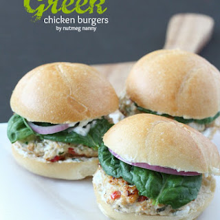 Greek Chicken Burgers {with pickled red onion and Greek yogurt sauce}.