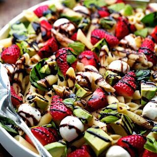 Strawberry Caprese Pasta Salad with Balsamic Glaze.