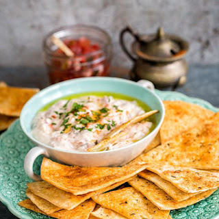 Easiest three ingredient dip with homemade spicy tomato salsa for Can-It-Forward Day.