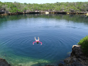 Photo: Anne exploring Hoffman Cay blue hole