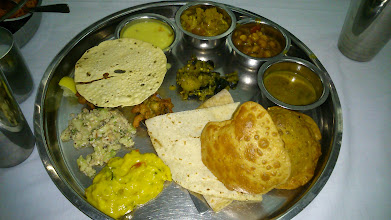 """Photo: Came here after many years! With Sulakshana Vahini ;), Abhi Dada, Soundarya-chan from the US and my husband, we enjoyed the Thali and chitchat to fill the gap while we had been apart. Shreyas Maharashtrian restaurant on Apte Road (http://timescity.com/pune/deccan-gymkhana/maharashtrian-restaurant-shreyas/57279). The food varieties they serve are rather """"Pune"""" specialities than Maharashtrian. Clockwise from nearside; Puri / Bhakri / Chapati, Besan paste, Cucumber & peanuts salad, Papad and Pakoda, Kadhi, Puneri Cauliflowers, Puneri Channa Masala, Amti (sweet & sour dal soup), Potatoes & Karipatta (curry leaves). Surely, they serve unlimitedly. 18th March updated (日本語はこちら) -http://jp.asksiddhi.in/daily_detail.php?id=486"""