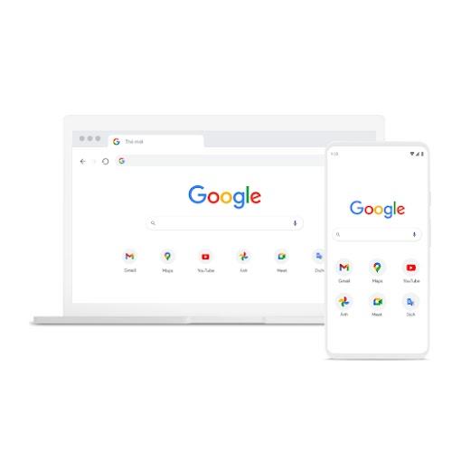 Hình một chiếc máy tính xách tay và điện thoại sử dụng Chrome
