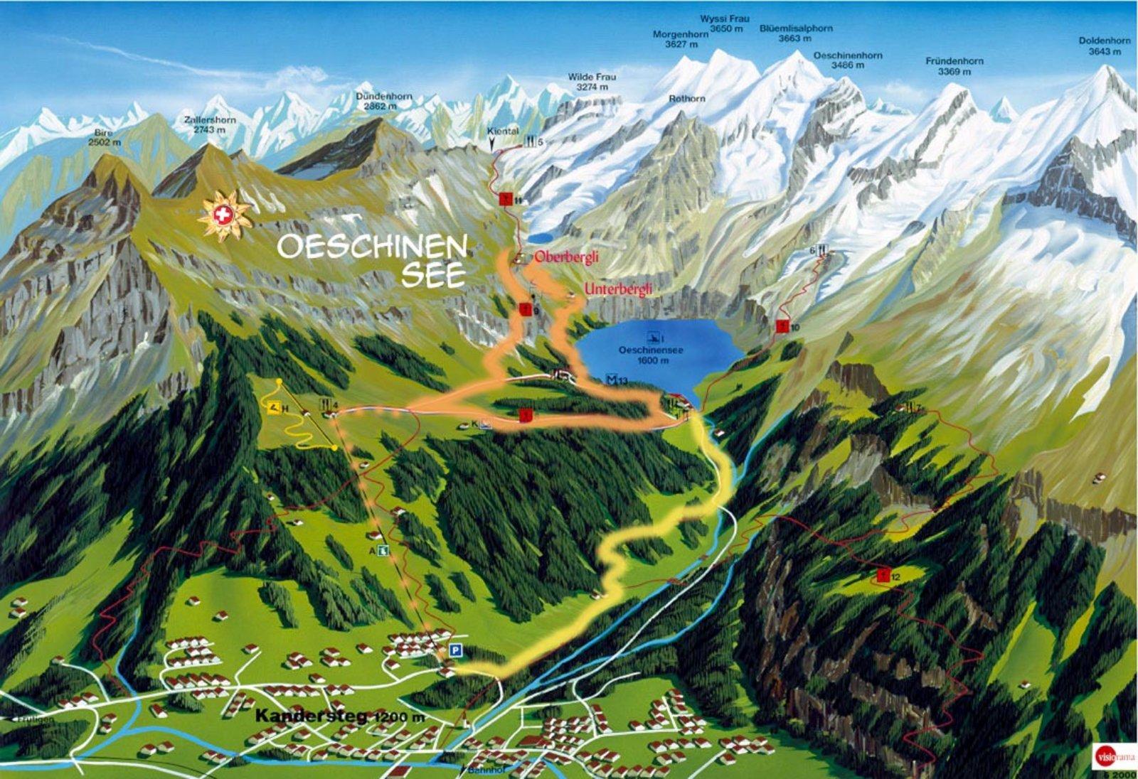Photo: Öschinensee - Karte, Kandersteg - mehr Informationen:  http://pagewizz.com/ausflug-zum-oeschinensee-im-berner-oberland-auch-fuer-behinderte/