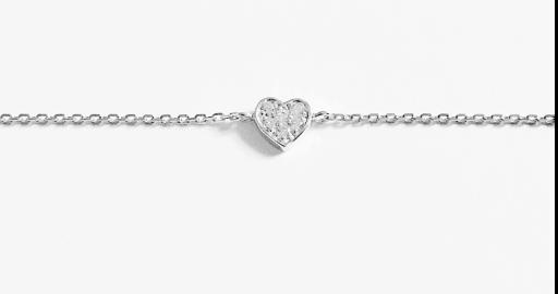 Bracelet coeur strassé chaine argent