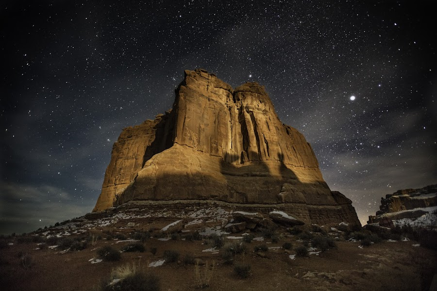 Starry Night by Mark Richardson - Landscapes Starscapes ( sky, arches national park, stars, arches, night, rock, moonlight, nightscape )
