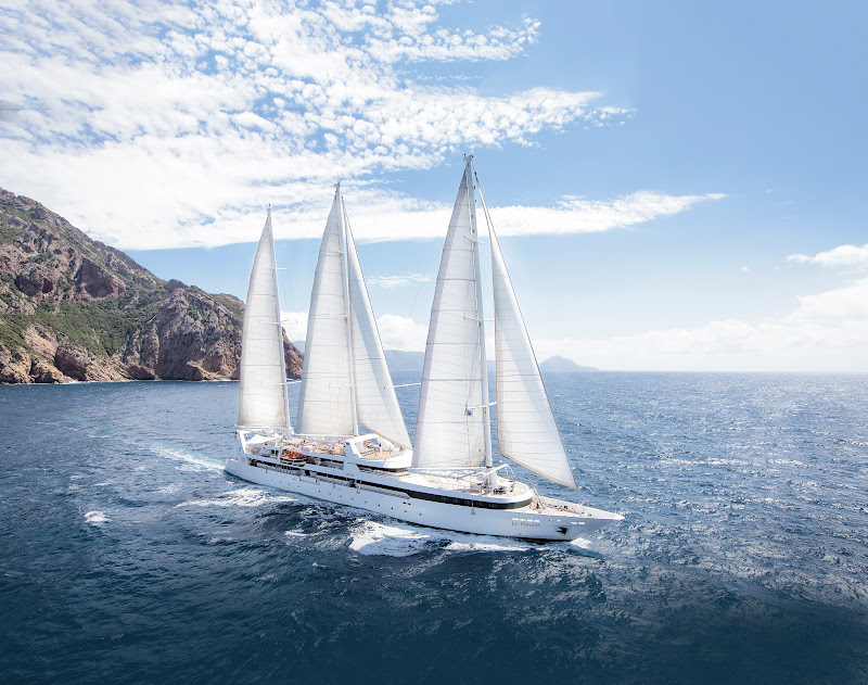 Le Ponant, carrying only 64 passengers, sets sail for ports of call around the world.